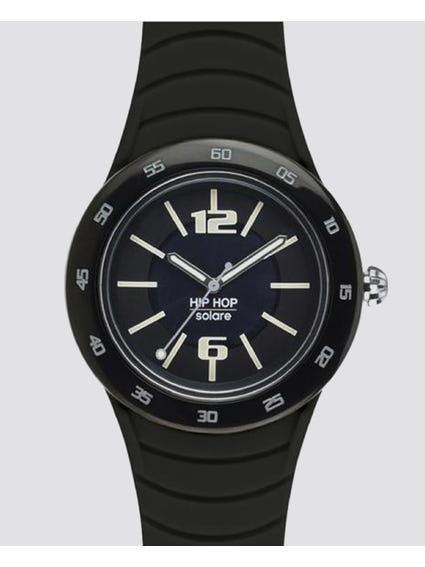 Black Metal Solare Analog Watch