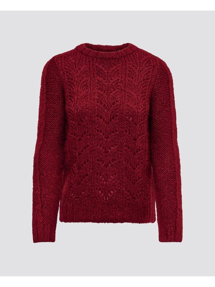 Burgundy High Neck Knitted Sweater