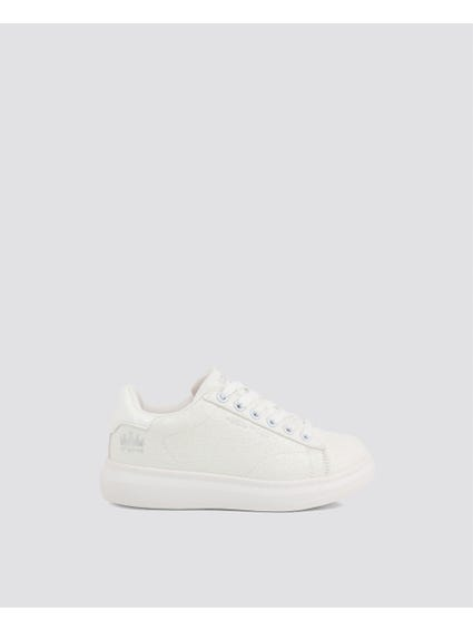 White Textured Kids Sneakers