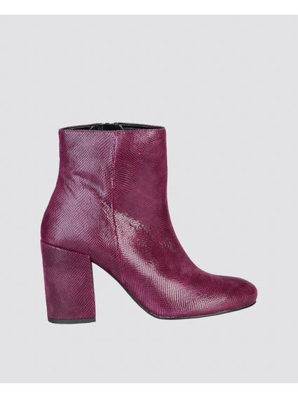 Red Alessandra Zipped Ankle Boots