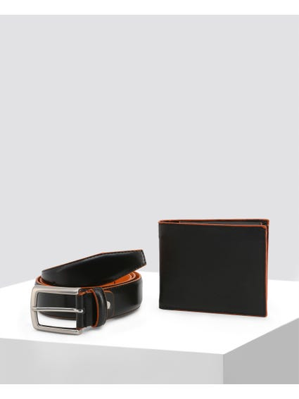 Black Smooth Leather Belt Set
