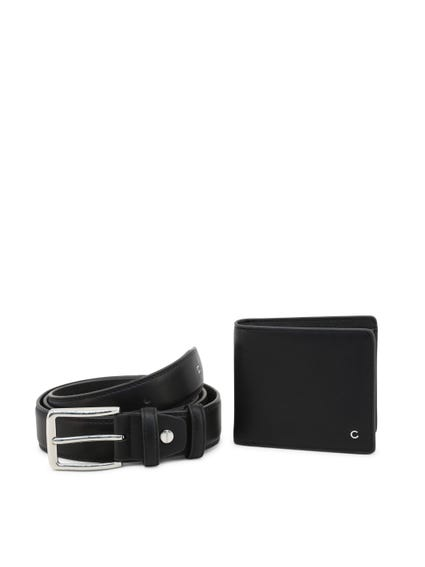 Black Leather Alan Belt Wallet Set