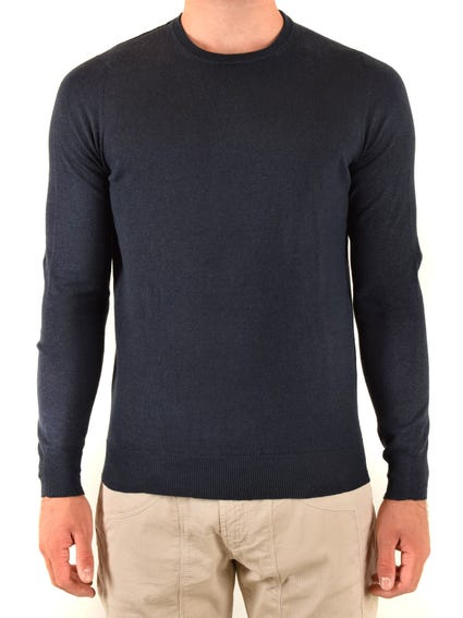 Blue Round Neck Plain Knitwear