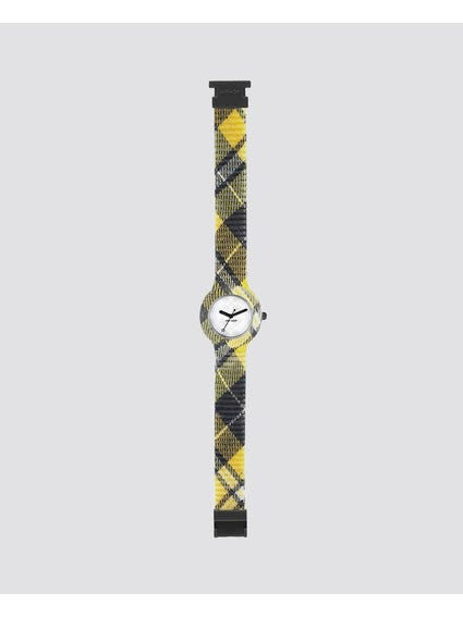 Yellow Tartan Analog Watch