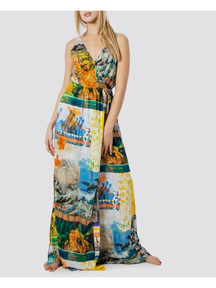 Multicolour Printed Long Dress