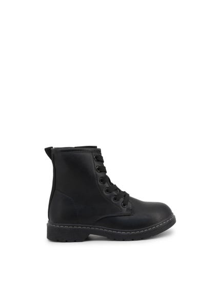 Black High Top Leather Kids Ankle Boots