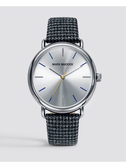 Grey Fabric Strap Silver Dial Watch
