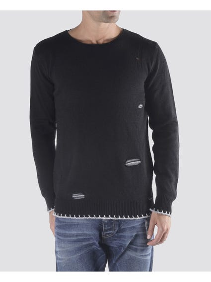 Black Detailed Knitted Sweater