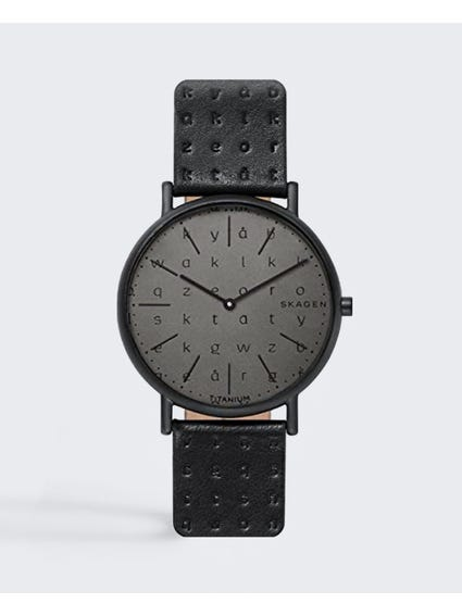 Black Signature Alphabet Leather Watch