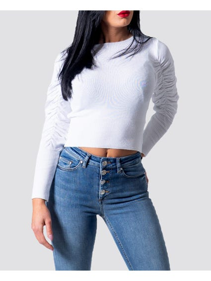 White Fluffy Cropped Knitwear