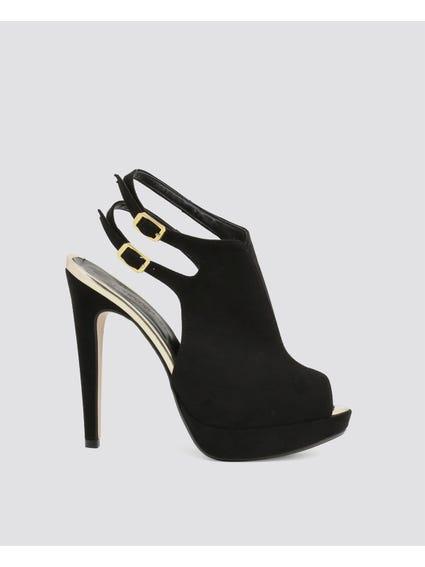 Black Two Pin Buckle Platform Sandals