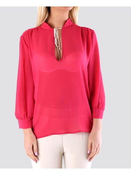 Pink Detail Puff Sleeve Top