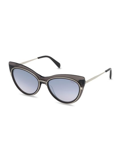 Black Metallic Temple Sunglasses