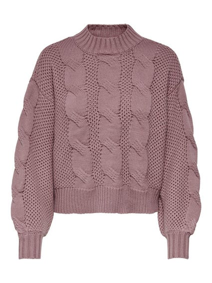 Pink Turtleneck Knit Sweater