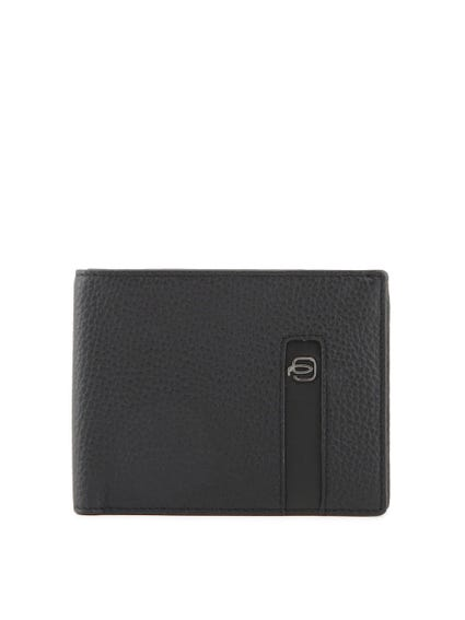 Black Leather Bi Fold Card Holder Wallet