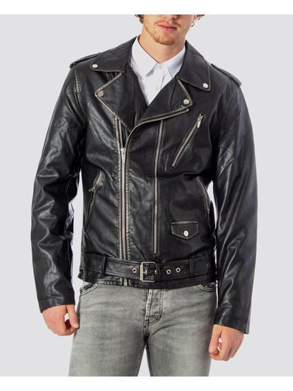 Collar Zip Up Leather Jacket