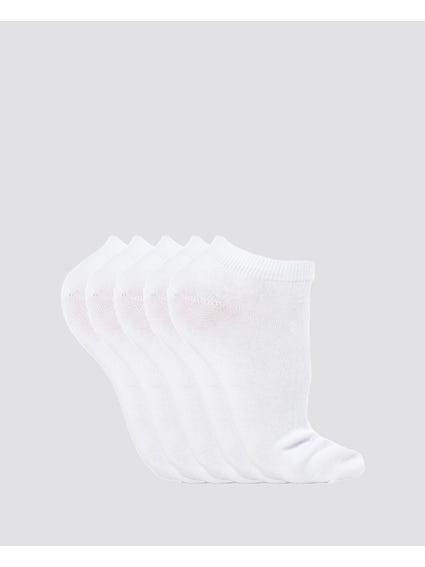 White 5 Packs Plain Liner Socks