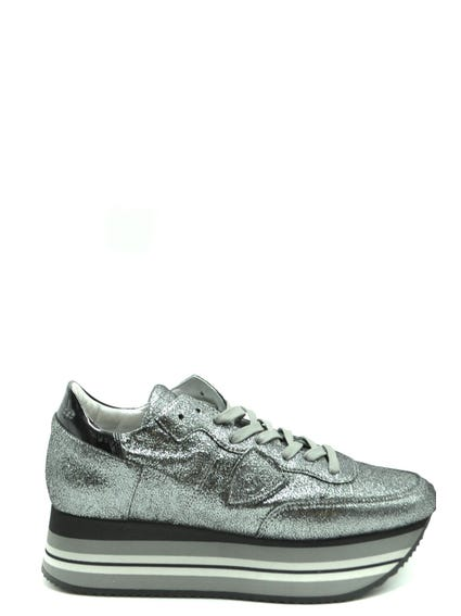 Metallic Wide Sole Lace Up Sneakers