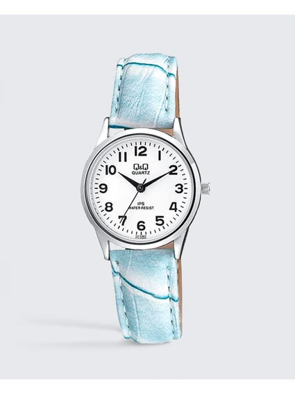 Light Blue Leather Analog Watch