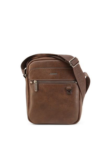Brown Leather Adjustable Strap Crossbody Bag