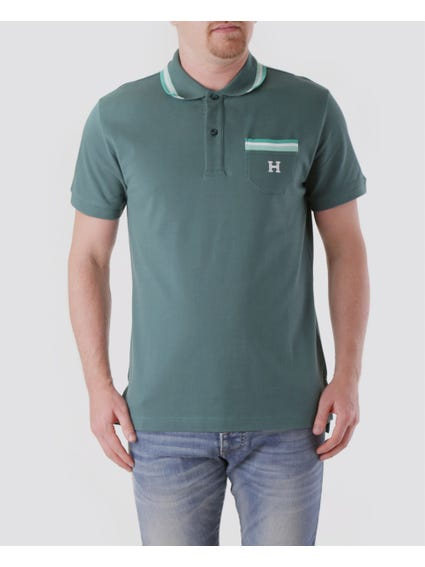 Green H Logo Pocket Design Polo Shirt
