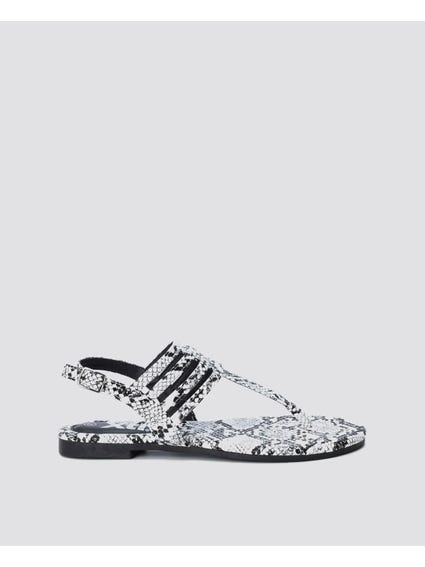 White Snake Print Layer Sandals