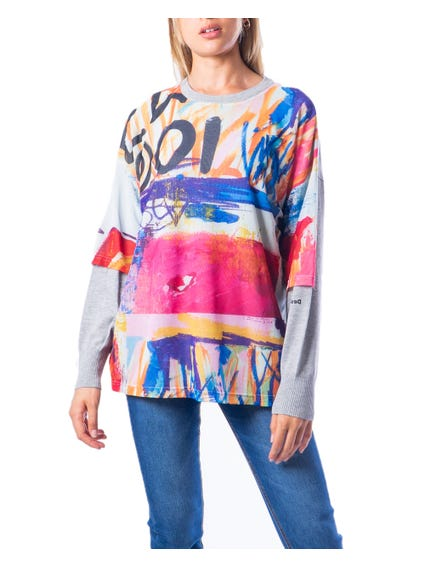 Round Neck Abstract Sweatshirt