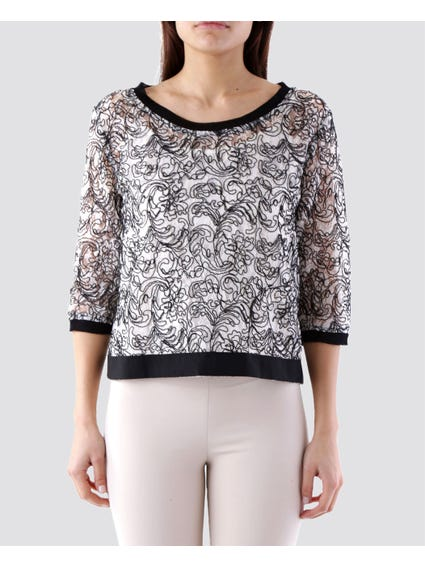 Paisley Mesh 3/ Sleeves Top