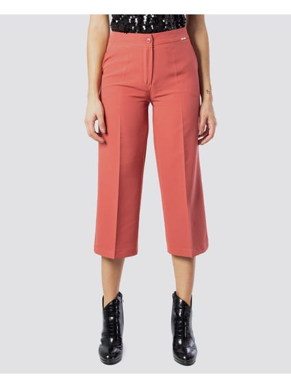 Pink Plain Cropped Trouser