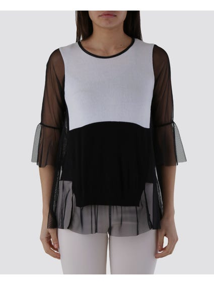Black Two Tone Mesh Blouse