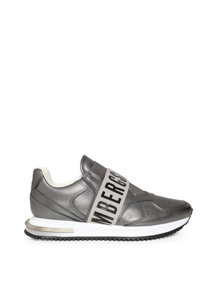 Metallic Grey Elastic Sneakers