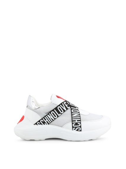 White Elastic Slip On Sneakers