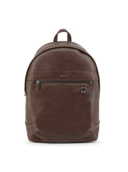 Brown Zipper Leather Logo Backpack