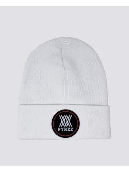 White Embroider Logo Knitted Beanie