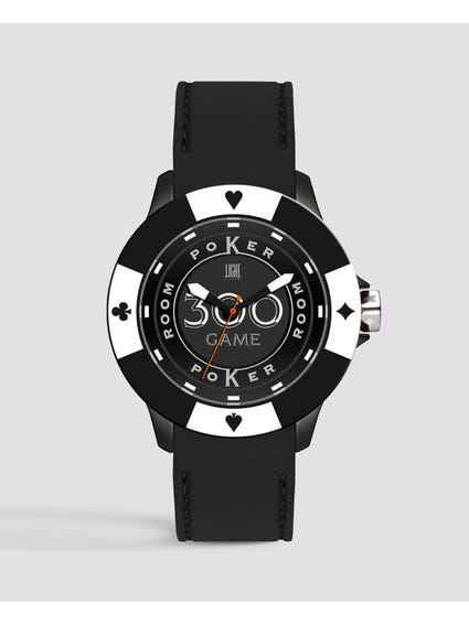 Black White Silicone Poker Quartz Watch