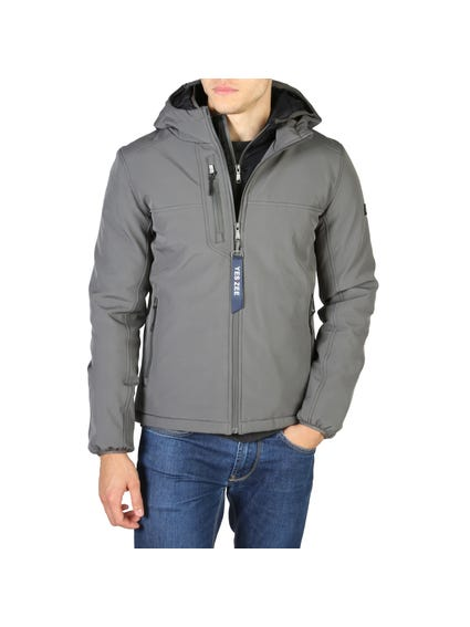 Grey Zipper Pocket Hood Jacket