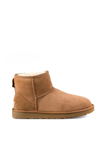 Brown Round Toe Fur Ankle Boots