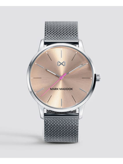 Silver Round Analog Watch