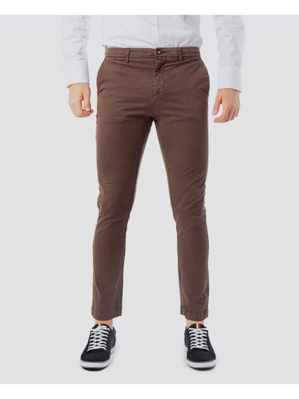 Brown Button Zip Pocket Trousers
