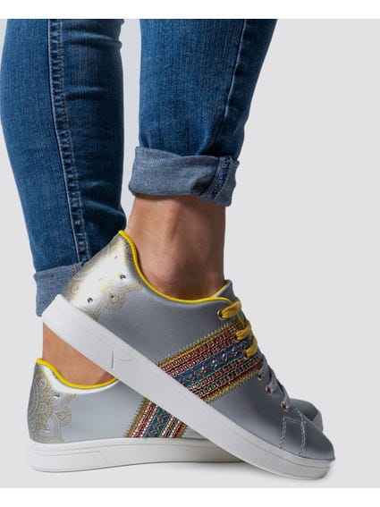 Silver Exotic Moo Mid Sneakers