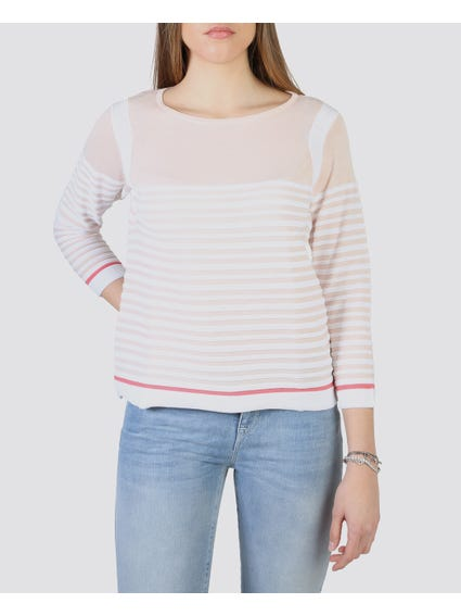 Pink Stripes 3/4 Sleeves