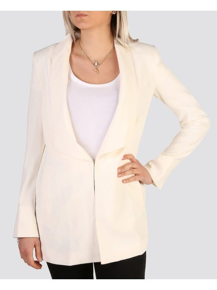 White Half Open Blazer