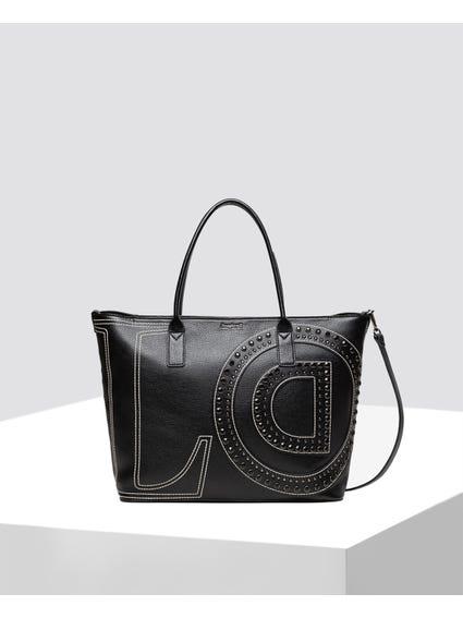 Black LOVE with Initial Logo Design Shopper Bag