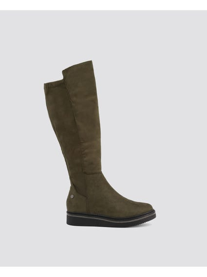 Green Plain Leather Boots