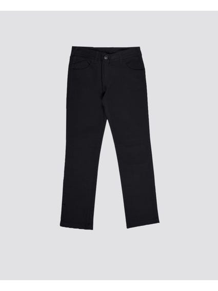 Black Solid Color Kids Trouser