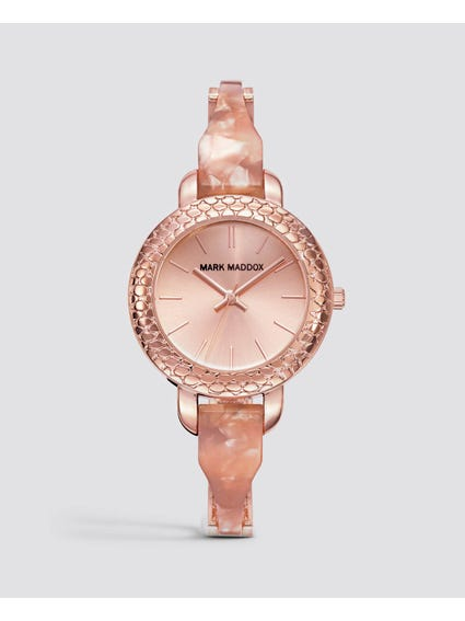 Rose Gold Patterned Stainless Steel Watch