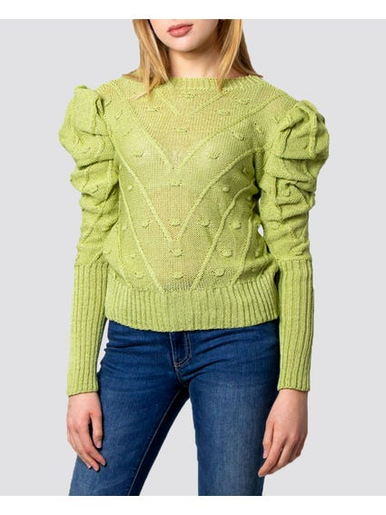 Green Balloon Sleeves Knitted Sweater