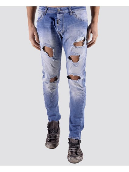 Ripped Effect Denim Jeans