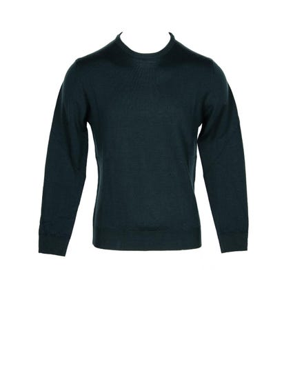 Green Plain Turtleneck Knit Sweater