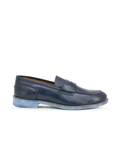 Blue Leather Crust Slip On Moccasins